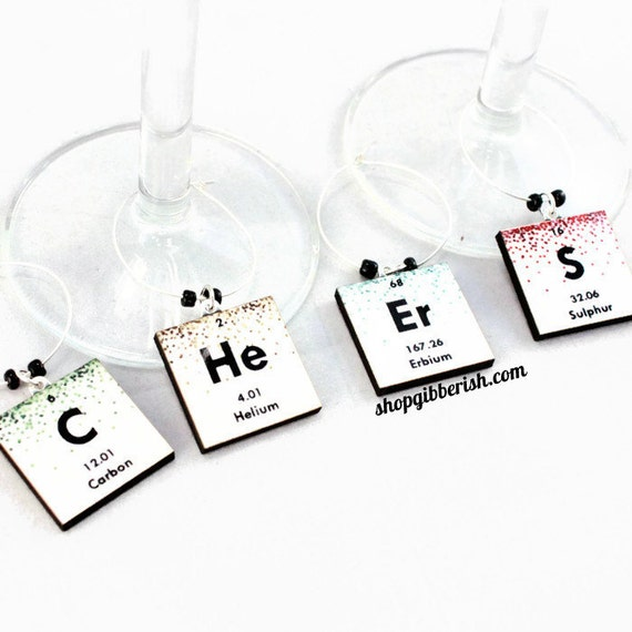 Chemistry Wine Charms//Wine Glass Periodic Table Charms for Charming Geek//Science Gift//Personalized Jewelry//Hostess Gift