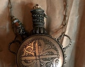 Closing Sale Vintage Tuareg 2 Spout Amulet Double Spout Bottle Engraved Silver with Wood Dauber and Wire Kohl Jar or Chatelaine