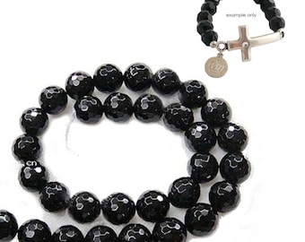 Natural Black Agate Faceted Round Beads 12mm Strand