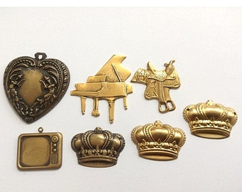 Assorted Antiqued brass Stampings Heart, Piano, horse saddle, Television tv, crown - You will receive all the charms in the photo