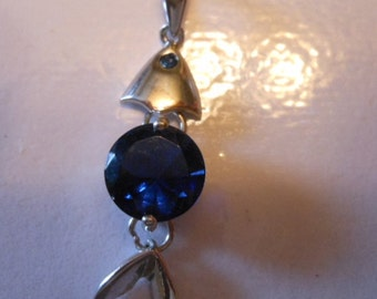 Sterling Silver Pendant with Royal Blue Stone