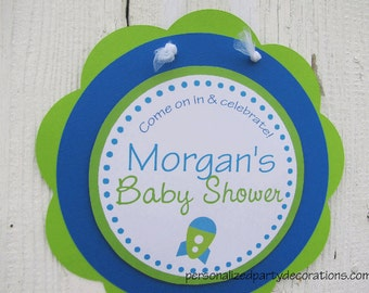 Space Baby Shower Decorations, Baby Shower Decorations, Baby Shower Décor, Rocket Baby Shower DOOR SIGN, You Choose The Colors