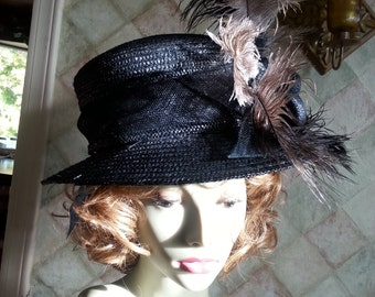 Hat Victorian Edwardian style Derby Black feathers bowler Romantic Downton Abbey stage