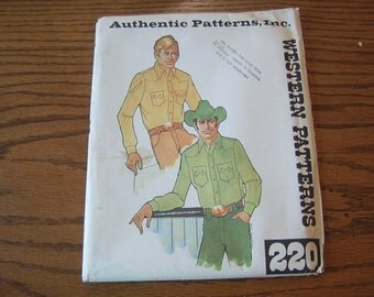 1970's Men's Western Shirt Pattern - Authentic