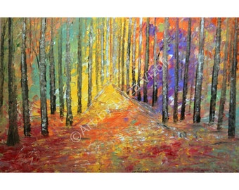 Original Painting OIL Abstract Modern Impressionist FALL Up North Direct from Artist Large Landscape Canvas