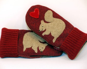 Mittens Recycled Wool Sweater in Light Brown and Red Squirrel Applique Leather Palm Fleece Lining Up Cycled  Eco Friendly Size S/M