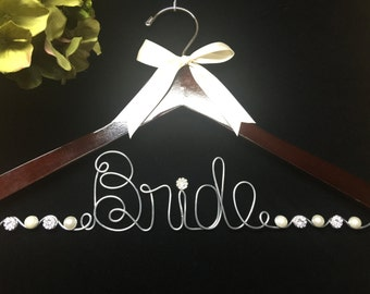 Bride Hanger with JUMBO Letters  Wedding Dress Photo opportunity Pearls and rhinestones