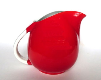 Hall China Red and White PERT Shape Pitcher or Water or Milk or Juice