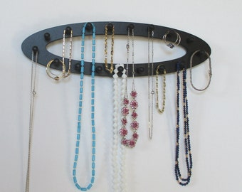 necklace holder, jewelry rack, oval loop, necklace organizer, jewelry storage, wall mount rack