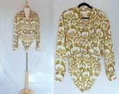 1980's Bodysuit Blouse by Escada size 42, medium, vintage 80's designer fashion
