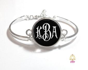 Black and White Monogram Bracelet, Monogram Bangle, Monogram Jewelry, Bridesmaid Gift, Personalized Bracelet, Mother's Day Gift - Style 336