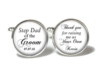 Step Dad of the Groom Cufflinks, Step Dad of the Groom Tie Clip, Wedding Cufflinks, Style 667