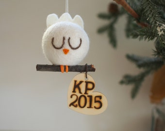 Personalized Christmas Ornament, White Peace Dove Bird Tree Decoration, Rustic, Needle Felted Natural Holiday Decor, Customizable