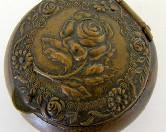 Vintage Snuff Box Brass Snuff Box with Raised Roses Gorgeous Pill box