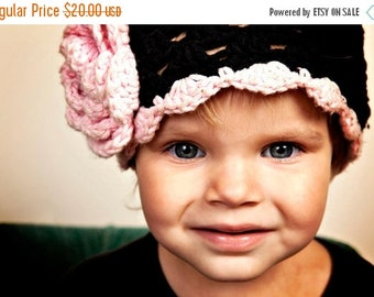 ON SALE Crochet Baby Hat, Girls Crochet Hat, Summer Hat, Cotton Crochet Hat, Girls Crochet Scalloped Beanie Hat, Black and Pink, MADE To Ord