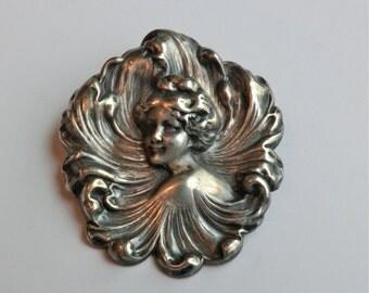 SALE Art Nouveau Brooch Female Beauty Wave Designs Romantic Era Pin