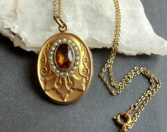Edwardian Locket Pearls Golden Topaz Glass Stone Monogram Back Photo Inside