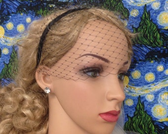 Headband Birdcage Veil, SEPARATE,  Bridal, Russian/English Netting