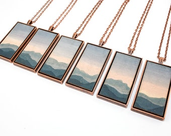 Painted Landscape Pendant - Mountains at Dawn (Original Painting Section in Brass or Copper Rectangle Setting)