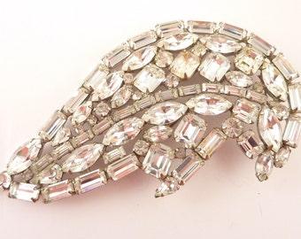 SALE ---- Huge Vintage Silvertone Sparkling Rhinestone Abstract Wing Brooch