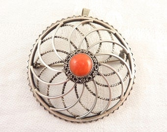 Vintage Geometric Openwork Sterling Round Brooch with Coral Center Stone