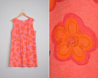 CORAL PINK FLORAL sleeveless tank dress / vintage '90s. size l xl.