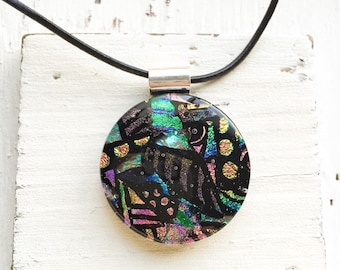 Colorful Multi Layer - Fused Glass Dichroic Pendant - Fused Glass Jewelry - Dichroic Fused Glass Pendant - Necklace - Fused Dichroic Jewelry