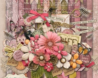 The Journey - Digital Scrapbooking Kit - 18 Papers - 60 + Elements - Paper Size - 12 x 12 Inches - 5.00
