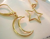 Moon and Star Gold Plated on 14kt Gold Filled Lever Back Earrings