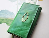 Vintage Buxton Key Tainer *1960's  Emerald Green Key Wallet * Keys * Embellished Key Ring Holder *
