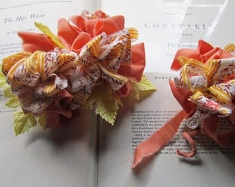Corsages and Boutonniere's * Wedding Flowers * Fabric Flowers * Vintage Fabric * Buttonhole and Corsage Set *