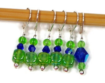 Locking Removable Stitch Markers Crochet Beaded Green Cobalt Blue Row Markers Knitting Supplies DIY Crafts