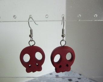 "3/4"" Long Red Dyed Howlite Skull Bead Dangle Pierced Fashion Earrings"