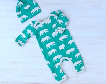 Organic Baby Take Home Outfit - Organic Newborn Going Home - Gender Neutral - Boy Coming Home Outfit - Romper and Hat - Made To Order