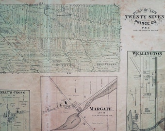 Antique Map of Prince Edward Island - Lot 27 - Crapaud - Kelly's Cross - Margate - Wellington  - Prince County - 1880 PEI Map - Home Decor