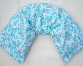 Rice Filled Therapy Pack - Hot / Cold Unscented Microwave Rice Bag - Aqua Blue White Damask Removable Washable Cover  - Large Heating Pad