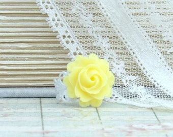 Yellow Rose Ring Summer Ring Yellow Flower Ring Adjustable Ring Rose Cabochon Ring Yellow Rose Jewelry