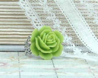 Lime Green Ring Green Flower Ring Green Rose Ring Large Rose Ring Green Floral Ring