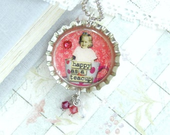 Tea Cup Necklace Happy Necklace Tea Necklace Teacup Necklace Tea Lover Gift Bottle Cap Necklace