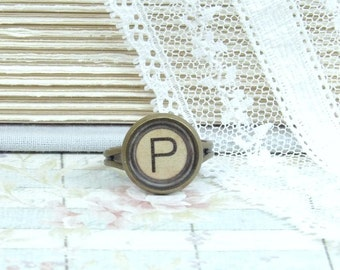 Initial P Ring Letter P Ring P Jewelry Writer Gift Letter Ring Typewriter Key Ring Initial Ring