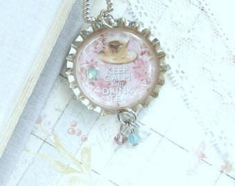 Tea Party Necklace Tea Cup Necklace Keep Calm And Drink Tea Tea Necklace Tea Lover Gift Bottle Cap Necklace