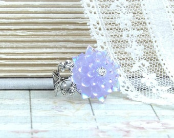 Purple Flower Ring Iridescent Ring Purple Floral Ring Shabby Chic Ring Flower Cabochon Ring Purple Ring