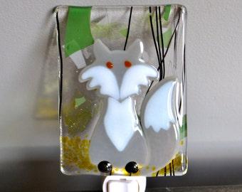 Gray Fox Fused Glass Nightlight Woodland creature