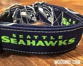 Seahawks Dog Collar -  Seahawks Dog Collar Available in Five Sizes - Dog Collar Seahawks Fabric - Dog Collar -  Adjustable Dog Collar