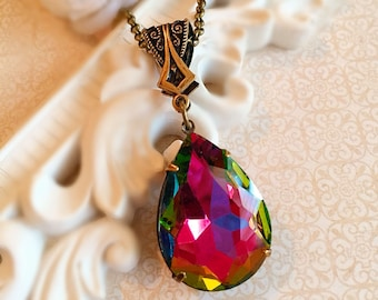 Art Deco Jewelry -Victorian Necklace - Best Jewelry Gift - Prom Necklace - VERSAILLES Rainbow