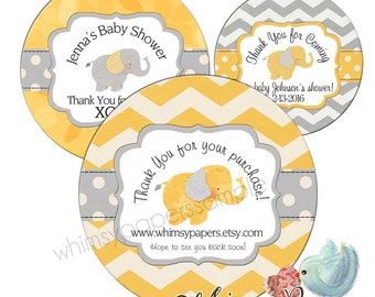 "Elephant Baby Shower Labels, Thank you Stickers, 1.5, 1.75"", 2 or 2.5 Inch, Glossy Round labels"