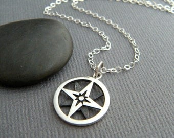 sterling silver compass necklace simple everyday jewelry small travel pendant. oxidized compass points charm gift for grad traveler 5/8""