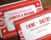 Printable Wedding Invitation & Save the Date Template - Red Mexican Wedding Invite and Save the Date PDF - Papel Picado - PDF Templates