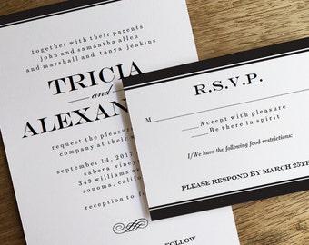 Printable Wedding Invitations & RSVPs - Black Stripe - Black and White Wedding Invitation Template and Response Card - Wedding RSVP Card