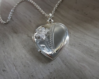 """Heart locket hand engraved with cz accent on 18"""" silver chain"""